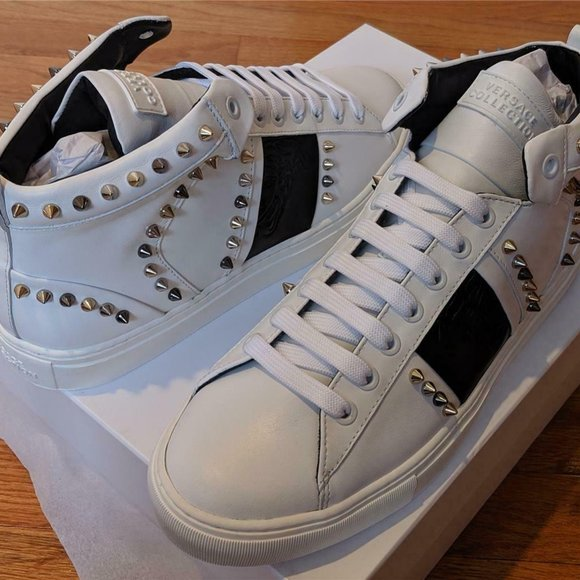 Mens Versace Collection Spiked Leather